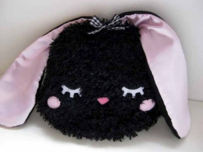 BUNNY PILLOW Hello Kitty Rabbit Kawaii cute plush - furry fleece satin