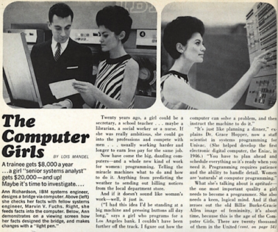In 1987, 42% of the software developers in America were women. And 34% of the systems analysts in America were women. Women had started to flock to computer science in the mid-1960s, during the early days of computing, when men were already dominating other technical professions but had yet to dominate the world of computing. For about two decades, the percentages of women who earned Computer Science degrees rose steadily, peaking at 37% in 1984.