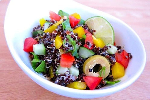 Peruvian black quinoa salad! So fresh and summery and quick! Hip Pressure Cooking is a pretty great blog. The author is bananas for pressure cookers, which is cool—pressure cookers seem terrifying, but secretly they're fantastic. It's not a vegan blog, but she does have a vegan tag, and you can leave out or substitute the meat (diced ham?) in some recipes, and life is full of beautiful and amazing recipes from people who eat all kinds of food, the end.