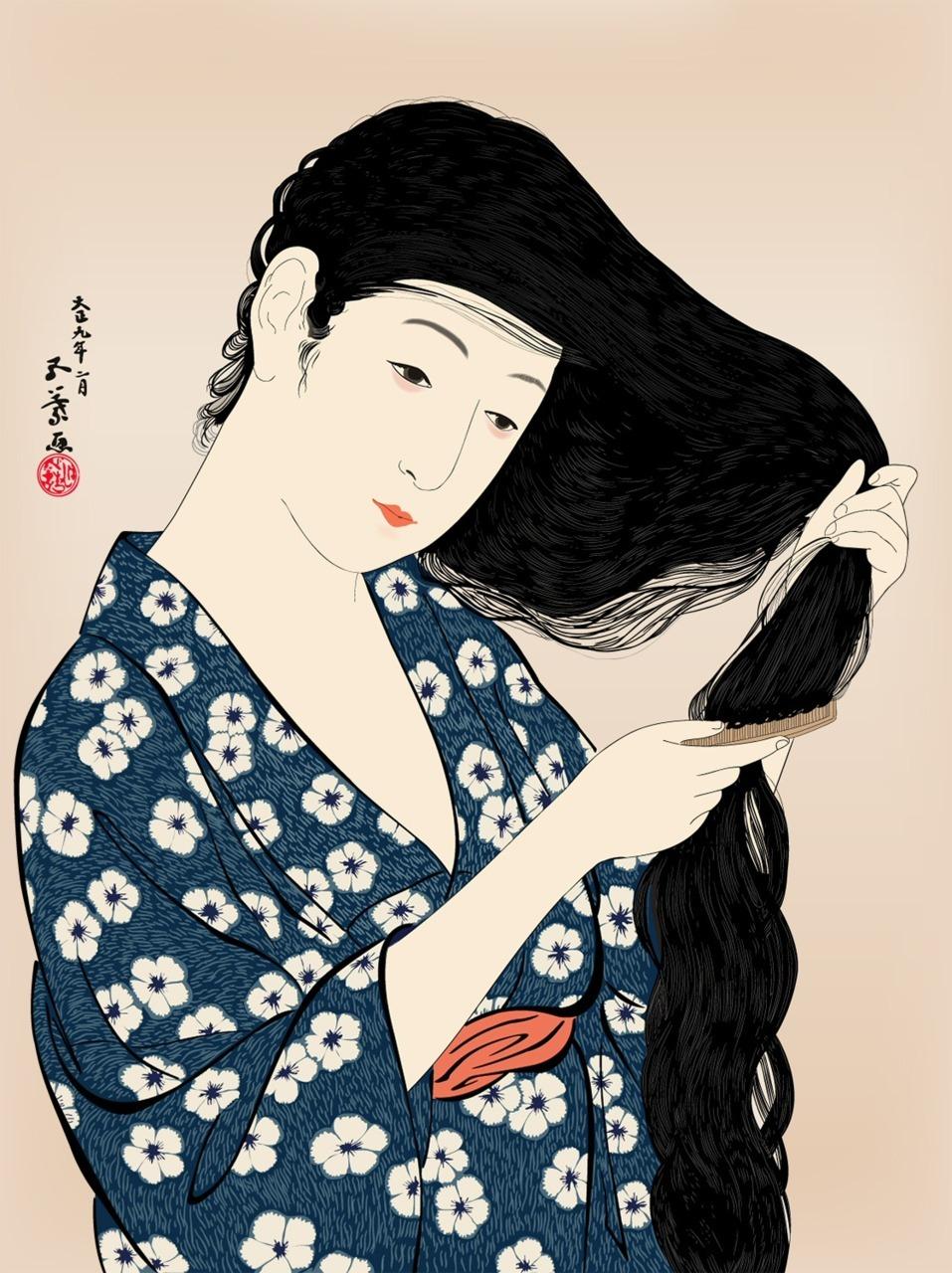 Japanese Art Woman Combing Her Hair Hashiguchi