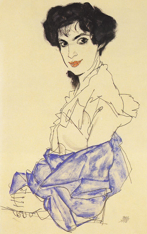 Egon Schiele: Portrait of Elisabeth Lederer - 1913Pencil and Gouache - 48,2 x 32,4 cmSigned & dated lowest right part: Egon/Schiele/1913Kallir D. 1232 - Private Collection Scanned from one of my books about Schiele