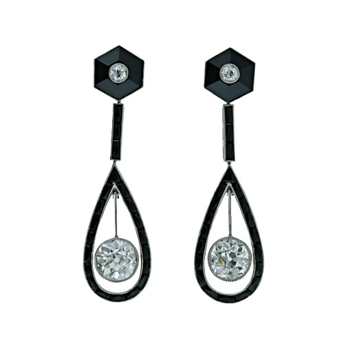 Art Deco drop earrings. Onyx and diamond.