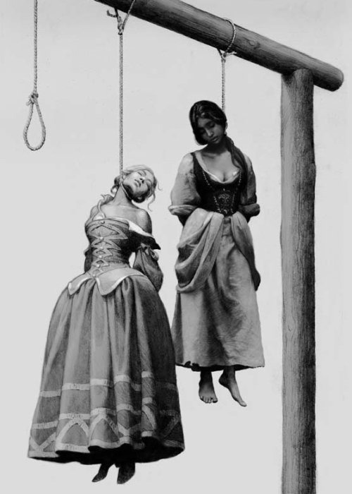 Martha Lang and Katherine Kampbell (Hanging for witchcraft in Scotland) by Nicolay Bessonov
