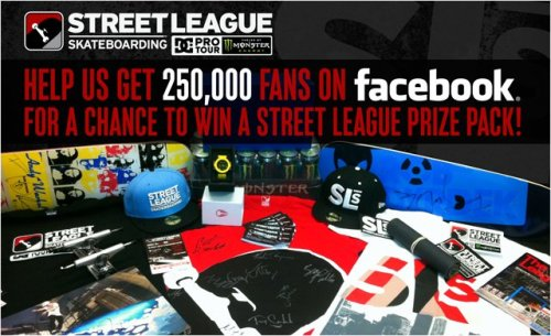 Help Street League Skateboarding reach 250,000 Facebook fans for a chance to win this huge prize pack with autographed Alien Workshop skateboards, DC Shoes, and other prizes from Nixon, Silver Trucks, Monster Energy and Street League! http://www.facebook.com/streetleague by Sasha