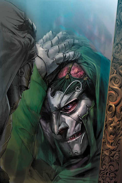 This is actually Otto Von Doom, from the Marvel 1602 line of stories (and not fan art).
