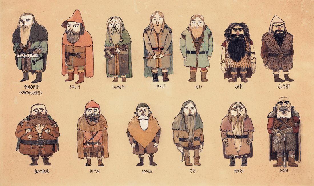 Here are the dwarves from the Hobbit. I had been sketching them as warm up drawings the past week or so and liked the way they turned out. So here they are a bit gussied up.The reason I drew these and risked being compared to Sam Bosma was because the people making the new Hobbit films had released some pictures of the cast. And I rather disliked most of them (I like Bofur and Bombur, but the rest of them look like a cross between Scandinavian hard rockers and klingon cosplayers), so I wanted to know how I thought they should perhaps look.