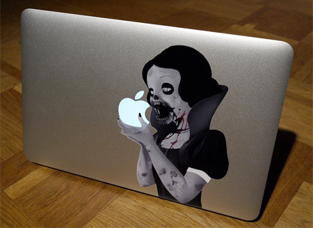 (via 15 Cool Stickers for your MacBook)  ooh…. zombie snow white macbook air sticker. i like.  get this for $18 plus many more to choose from: stickerman on etsy