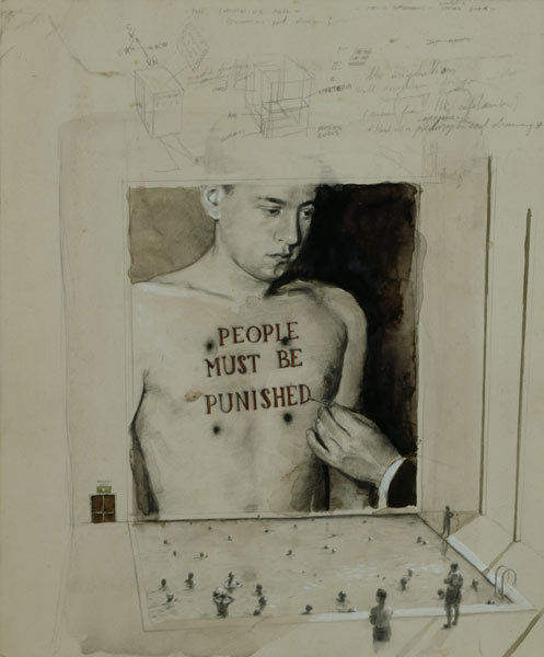 Michaël Borremans. The Swimming Pool, 2001.  Pencil, watercolor and white ink on cardboard. More here