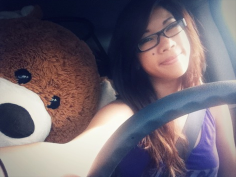 My bear Bradley and I's first road trip to our new house! :3