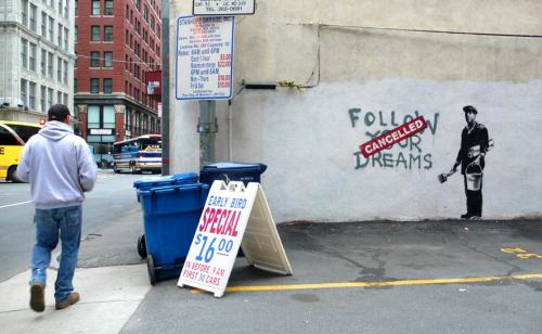 youranonnews:  Follow your dreams by Banksy