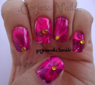 gorjessnails:  NAIL ART CHALLENGE: #2. WATER MARBLE & #3. FLOWER I enjoyed water marbling that I decided to combine #2 & #3 from the nail art challenge. Flower water marble!..<3 Sinful Colors- Fig. Cream Pink.