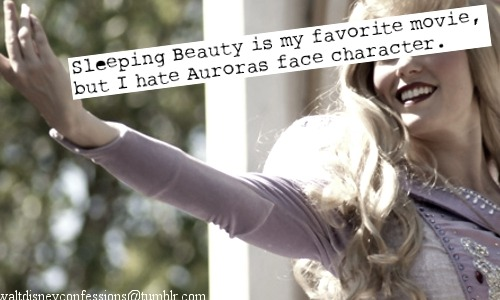 "waltdisneyconfessions:  ""Sleeping Beauty is my favorite movie, but I hate Auroras face characters"".  I agree, mostly because Aurora's wig is horrendous!"