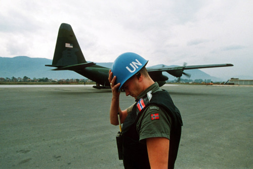 A UN peacekeeper holding his helmet during the early days of the Bosnian war. Sarajevo - Summer of 1992.