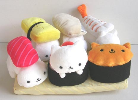 cute cat sushi plushes
