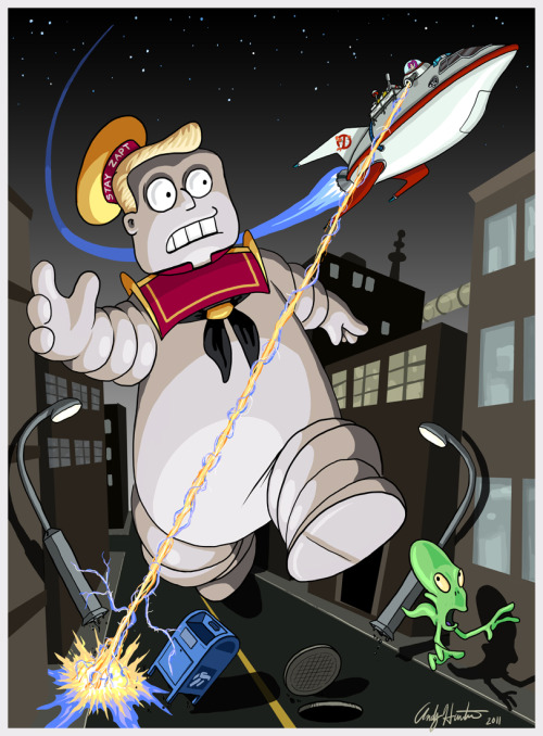 justinrampage:  The cast of Futurama got a full on Ghostbusters redesign by Tumblr artist Andy Hunter. Check out more Futurama / Ghostbusters mash ups at Draw2d2. The Stay Zapt Marshmallow Man by Andy Hunter (deviantART) (Store) Via: andyjhunter  Awesome! Love mashups