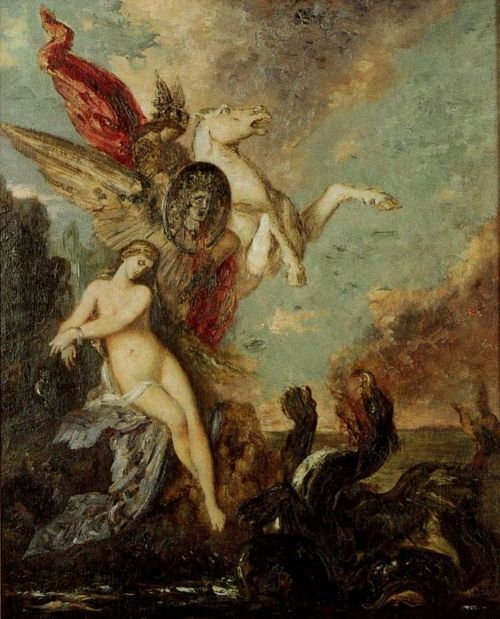 Perseus and Andromeda – Gustave Moreau (France, 1826–98) Thank you, noblebeasts! Given the choice between the two, I'd pick the Moreau, hands-down. I am addicted to how Moreau poses his subjects: static, yet expressive.