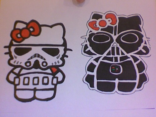 Star Wars Hello Kitty drawing I did. Storm trooper and Darth Vader.