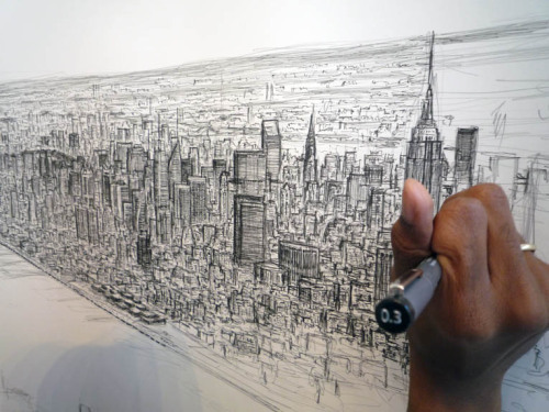 British artist Stephen Wiltshire has managed to draw the manhattan skyline from memory. These were drawn after a half hour helicopter trip over the city.  Stephen Wiltshire was diagnosed with autism at the age of three and he has an unusually powerful photographic memory. He can look at the subject of his drawing once and reproduce it accurately with photographic detail, down to the exact number of columns or windows on a building.Found at 7sobm.tumblr.com