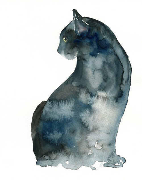 ondulyne:      (via CAT by DIMDI Original watercolor painting 8x10inch by dimdi)