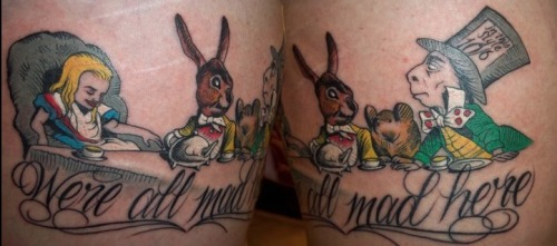 "fuckyeahtattoos:  My Alice In Wonderland thigh tattoo. Done at Moving Shadow in Milwaukee, WI. ""We're all mad here."""