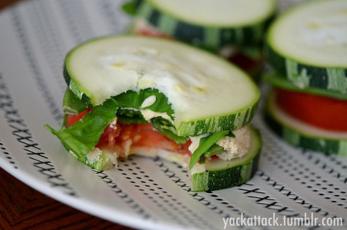 Raw Zucchini Squash Sandwiches with Sprouted Hummus! This dish makes a great lunch or dinner, and you can really customize it to whatever veggies you have on hand. The squash is FROM MY GARDEN (and huge), and for the filling I used Homemade Sprouted Chickpea Hummus, sugar snap peas, tomato slices, and fresh basil with a lil' sea salt and ground pepper for seasoning. It was incredibly satisfying and nutritious!