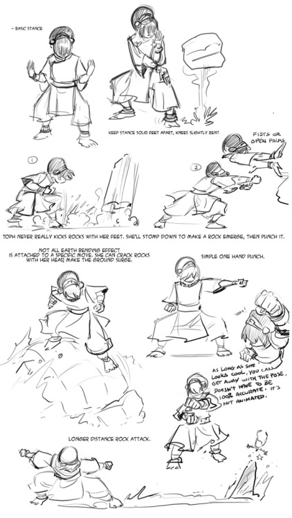 Toph Notes, done as reference for other story artists working on the Nickelodeon Magazine ATLA comics. Very very basics.
