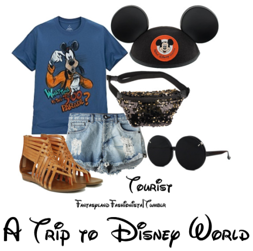 "fantasylandfashionista:  I'm starting a ""Tourist Collection"" which will feature things you'd see a classic ""tourist"" wear to the parks. Here are super cute leather sandals, a fanny pack, and adorable Mickey Mouse sunglasses.   I can see sarah wearing this if the fanny pack didn't have sequins haha"