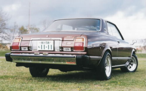 1979 Toyota Corona Mark II Grande  This is how you do it.  Take an otherwise dull car. Lower it. No, not that much. Just a bit. Fit some tasteful aftermarket alloy wheels. Be sure that they have a bit of lip to them. Enjoy. /via Yonaken's website