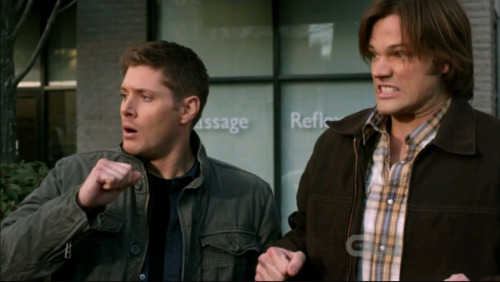 This is what it looks like when Dean and Sammy watch someone get hit by a bus.