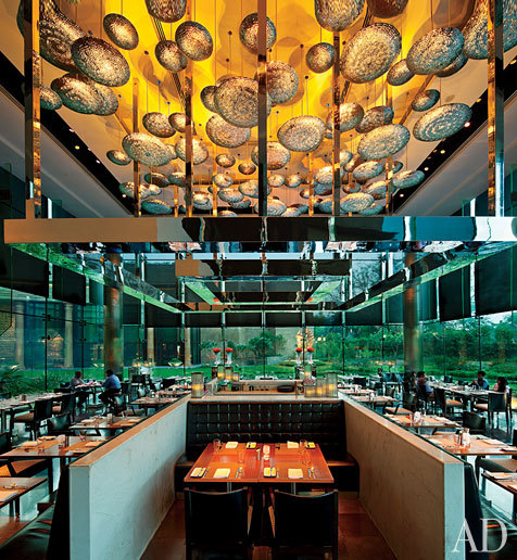 The Leela Palace's hot-spot restaurant the Qube provides a contemporary counterpoint to the hotel's neoclassical-themed design.