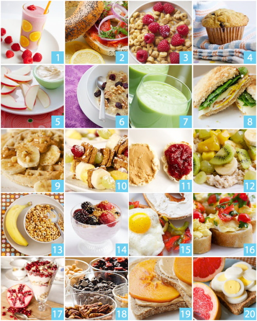 learntobefit:   20 Quick and Healthy Breakfast Ideas  Raspberry orange pomegranate smoothie Poppy seed bagel with lox and fixins Kashi Heart to Heart cereal with fresh raspberries and 1% milk Whole wheat banana chocolate chip muffin Peanut butter yogurt dip Quinoa porridge The Green Monsta – spinach, apple, and avocado smoothie Egg sandwich with baby spinach Whole wheat waffles with peanut butter and sliced bananas Whole wheat French toast kabobs with fresh fruit Peanut butter and jelly on an English muffin Old fashioned oats with kiwi, banana, mango, and grapes Multigrain Cheerios with milk and a banana Greek yogurt with fresh berries and a sprinkle of Grape Nuts 1/2 bagel with reduced fat cream cheese, 1 fried egg, sauteed red and green peppers Breakfast Bruschetta Pomegranate Parfait with Greek yogurt, Kashi Go Lean, pomegranate seeds Trail mix with pecans, dried cherries, dried golden raisins, almonds, cashews, dark chocolate chips, Puffins cereal Ezekiel bread toasted with cashew nut butter and sliced persimmon 1/2 red grapefruit, 1 slice of Ezekiel bread toasted and 2 hard boiled eggs  YUM BREAKFAST ALLLL DAYYY LOONNGG. my favourite meal ever.   Not all of these are vegan but some of them could easily be made so! Looks yummy!