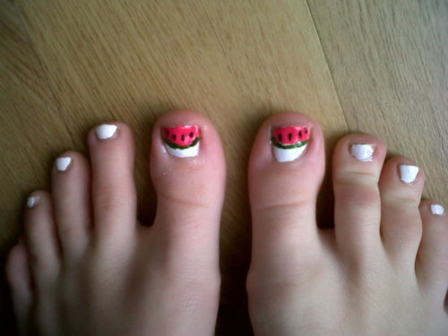 Watermelon Toe Nails Using all colours from Nail Supreme nail art kit!