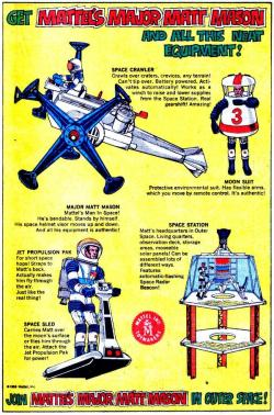 comicallyvintage:  Matt Mason - the Buzz Lightyear of 1969.  Having lived through 1969 and The Major Matt Mason hype, I can attest that he was cashing in on the NASA craze but MMM lacked Buzz Lightyear's panaché and sense of humor.  And, even as an eight-year old kid, I thought the Space Crawler and Moon Suit were incredibly lame.
