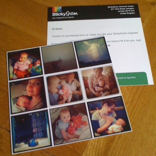 Quick review - StickyGram - turning your Instagrams into magnets What is it? As it says really. It's a service that lets you turn a selection of nine of your Instagram shots into fridge magnets (or wherever else you might want to stick them magnets). What do you do? Using the online service at stickygram.com simply log in with your Instagram account. You'll be shown your Instagram feed from which you choose which nine pics you would like as magnets. You can choose any one pic several times if you want, useful if intended as little gifts. You can then preview your selection, proceeding to the checkout when you're happy. What do you get? You get a sheet of 9 50mm x 50mm (about the same size as they appear on your iPhone) flexible fridge magnets. The picture quality is decent enough. StickyGram aim to deliver within 5-12 days depending upon where you live in the world. Mine actually arrived 3 days after ordering! Very impressive. How much does it cost? It costs US $14.99 for a sheet of nine magnets with free shipping anywhere in the world. Any good? Yeah. I'm happy with the product and the cost. The process was easy and the delivery very impressive (the packaging and insert also indicates a good level of attention to detail). Only problem is, I don't have a fridge door to put them on! They'll make nice little gifts though :)