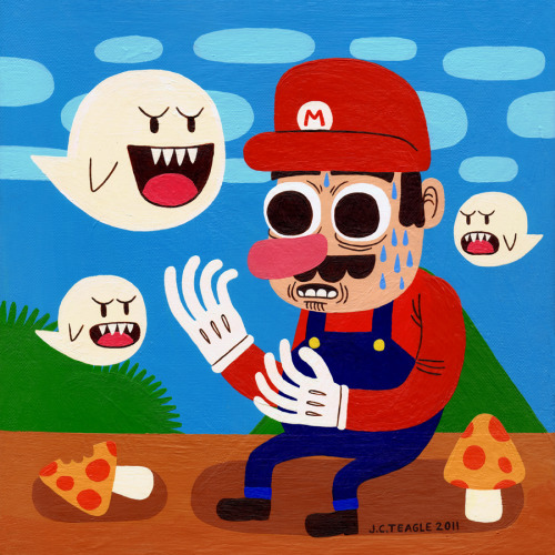 jackteagle:  Tripping in the Mushroom Kingdom. Created for the iam8bit show.  This is one of my favorite pieces from the show, and also one of the most affordable!