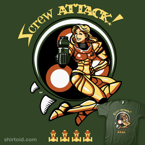 shirtoid:  Screw Attack by ninjaink is on sale for $12 at Nowhere Bad