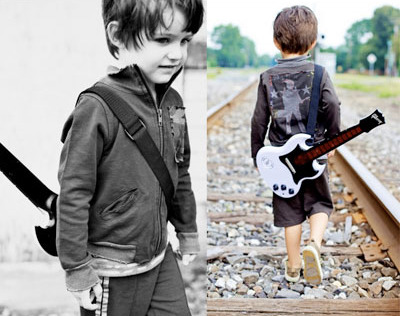 Hipster Toddler expresses himself through music.