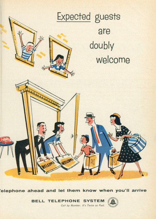 "~ Life magazine, July 6, 1959via Flickr(click to enlarge)""Expected guests are doubly welcome."""