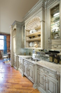 belleatelier:  Distressed cabinets, a dream kitchen