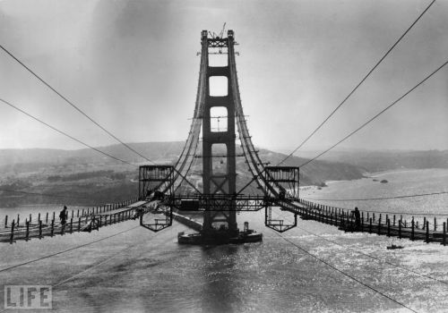 life magazine, on San Fancisco:  Pictured Above: The Golden Gate Bridge under construction in 1935. Call it the Paris of the West, the City That Knows How, or even  (shudder) Frisco — San Francisco is the city on the bay that no visitor  ever forgets, whether it's because of the sourdough bread, the  heart-on-its-shoulder political activism, or that big ol' red bridge.  But the San Francisco you may know today wasn't always the iconic city  of the liberal literati, mighty spans, and Gold Rush memorabilia. See more — San Francisco Then and Now