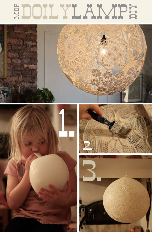 curiouskiema:  DIY Doily Lamp  Very cool. My next crafting project.