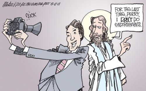 Cartoon: Gov. Rick Perry and Jesus The Denver Post's Mike Keefe on Gov. Rick Perry and Jesus.