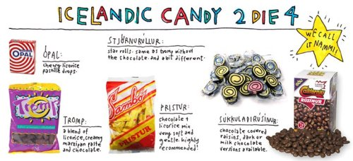 Nammi Iceland makes a ridiculous diversity of candy for such a tiny nation. Many of the most popular ones are some combination of chocolate and licorice.