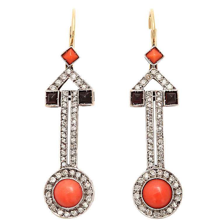 Art Deco Coral Drops; cabochon coral, onyx,  diamonds, platinum, 18 karat yellow gold. c. 1920s.