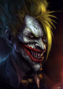 justinrampage:  The devious Joker gets a gruesome redesign in this fan art by Peter Ortiz. jOker by Peter Ortiz / StandAlone-Complex