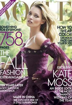 kate moss wedding details inside september vogue, of which she so gorgeously graces the cover. the (in)famous september issue - on newstands august 23rd.