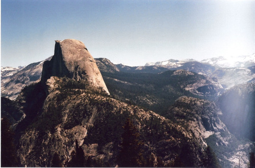 fuckyeahhiking:  lisavillella:  Half Dome, Yosemite, Panorama Trail. I think this is the roll that was in my checked luggage. Hence the bar of light..