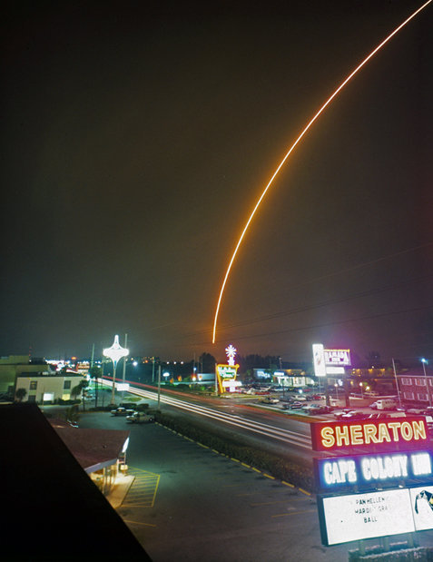 fuckyeahspaceexploration:  Time exposure shot from Cocoa Beach shows launching of Mariner 6 on February 24, 1969. Source