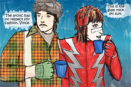 Glam Rock Ski Suit I discovered this glorious The Mighty Boosh fan art during a work-related image search. Honestly.