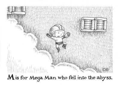 "M is for Mega Man 5"" x 7"" Pen on Paper Super I Am 8-Bit tonight.."
